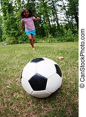 leány, játék futball