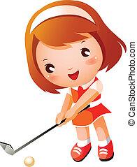 leány, játék golf