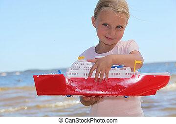 leány, játék, noha, apró hajózik
