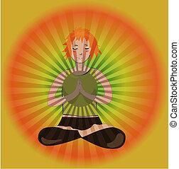 leány, jóga, imádkozik
