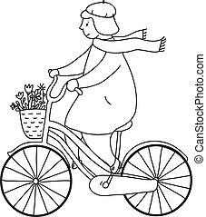 leány, képben látható, a, bicikli, ábra