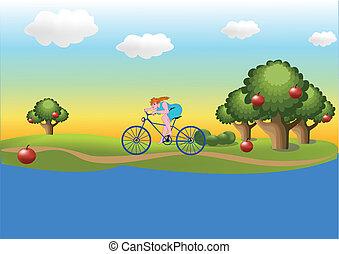leány, képben látható, a, bicikli