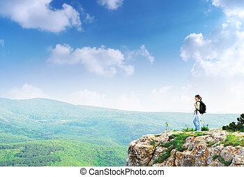 leány, képben látható, a, csúcs, közül, hegy