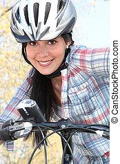 leány, képben látható, bicikli, noha, biztonság sisak