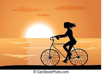 leány, képben látható, bicikli