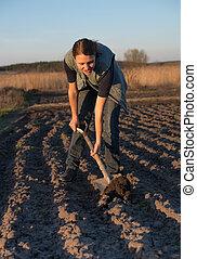leány, képben látható, mező, munka, a, vidék, -ban,...