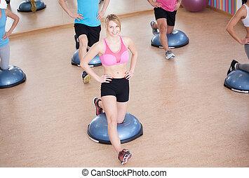 leány, képzés, neki, test, egyensúly
