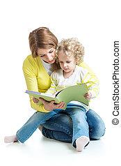 leány, könyv, felolvasás, kölyök, anya
