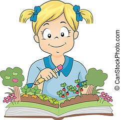 leány, könyv, kert, kertész, kölyök