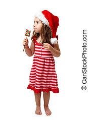 leány, karácsony, cukorka
