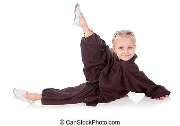 leány, -, karate, alatt, egy, fekete, kimonó