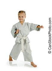 leány, -, karate, alatt, kimonó