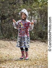 leány, kevés, játék, eső