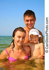leány, kevés, póz, tenger, család