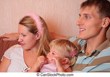 leány, kevés, szoba, család