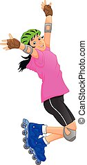 leány, korcsolyázik, hajcsavaró, boldog
