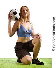 leány, labda, feltevő, futball