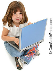 leány, laptop, gyermek