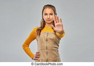 leány, megállítás, gyártás, tizenéves, gesztus