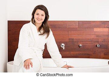 leány, modern, fürdőszoba