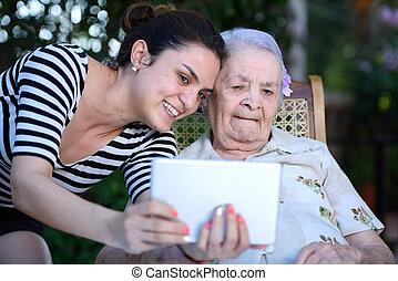 leány, nagyanyó, selfie, fog