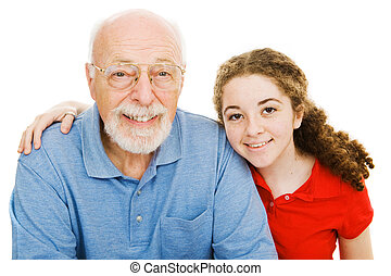 leány, nagyapó, neki