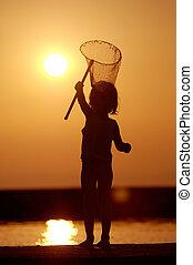 leány, napnyugta, halászat