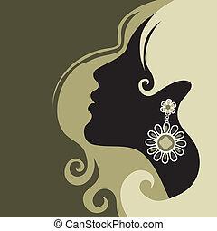 leány, noha, gyönyörű, haj