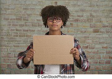 leány, noha, kartonpapír, aláír, noha, hely, helyett, üzenet