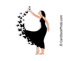 leány, noha, pillangók
