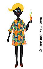 leány, noha, sárgarépa, -, vegetáriánus, fogalom, csinos,...