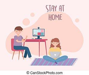 leány, otthon, megállít, használ, fiú, számítógép, laptop, online találkozó