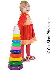 leány, piros, ruha, noha, játékszer