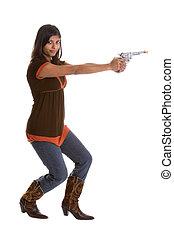 leány, pisztoly