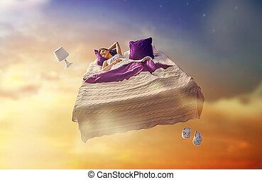 leány, repülés, ágy, neki