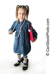 leány, ruha, játék, preschool, feláll