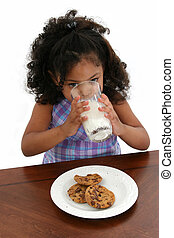 leány, süti, gyermek