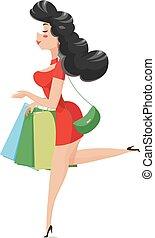 leány, shopping., bags.