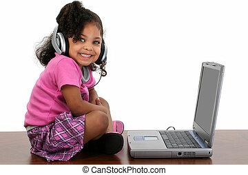 leány, számítógép, gyermek