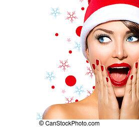 leány, szépség, formál, woman., szent, christmas kalap