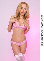 leány, szőke, női fehérnemű, rózsaszínű, csinos, szexi