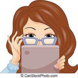 leány, szemüveg, csúcs, tabletta, settenkedik