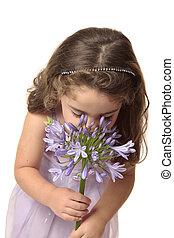 leány, szipákol, virág, fiatal