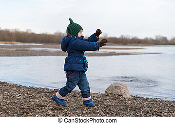 leány, tánc, képben látható, egy, folyópart