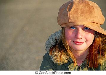 leány, tél kalap
