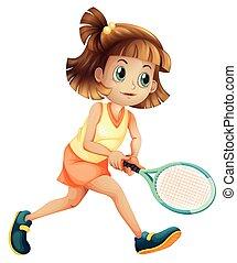 leány, tenisz, betű