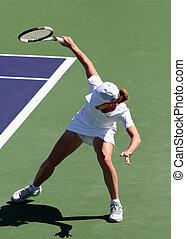 leány, tenisz, játék