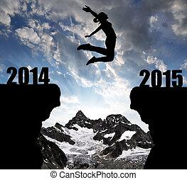 leány, ugrál, fordíts, a, újév, 2015