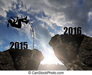 leány, ugrál, fordíts, a, újév, 2016