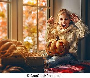 leány, után, halloween.